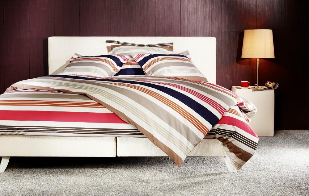 mistral home perkal bettw sche 135x200cm streifen blau rot gyptische baumwolle ebay. Black Bedroom Furniture Sets. Home Design Ideas