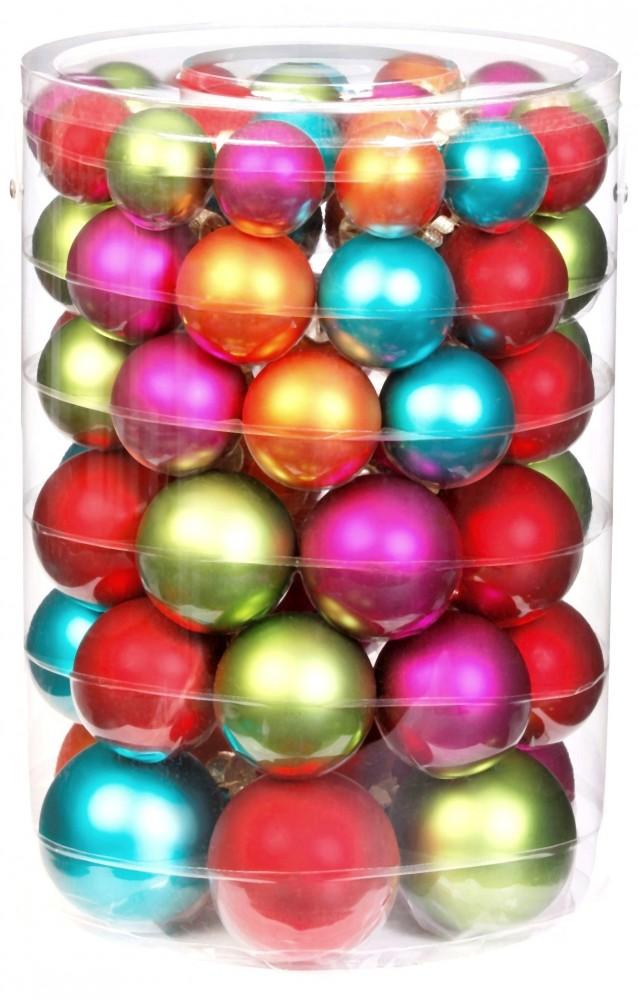 58x glas christbaumkugeln bunt matt weihnachtskugeln 4 5 6 7 cm gr n rot pink ebay. Black Bedroom Furniture Sets. Home Design Ideas