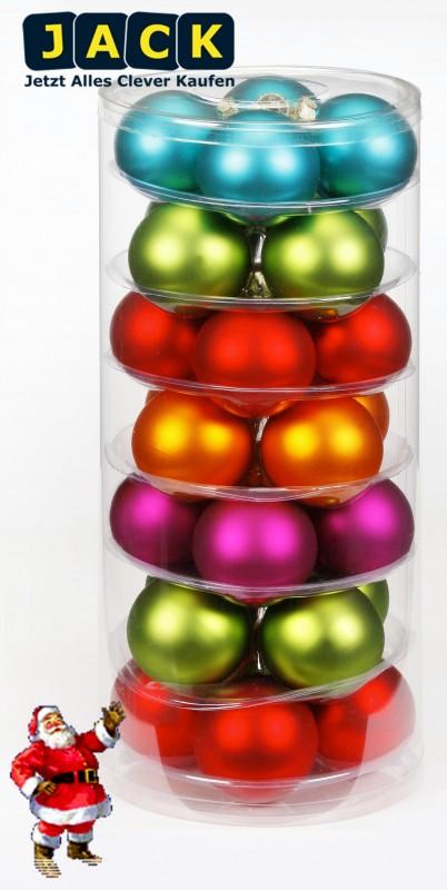 26x glas christbaumkugeln bunt matt weihnachtskugeln 6cm kugel gr n rot pink box ebay. Black Bedroom Furniture Sets. Home Design Ideas
