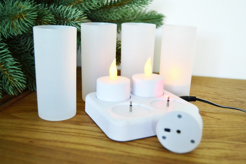 led 4x teelichter kerzen flackern kunststoff kerze aufladbar teelicht flammen ebay. Black Bedroom Furniture Sets. Home Design Ideas