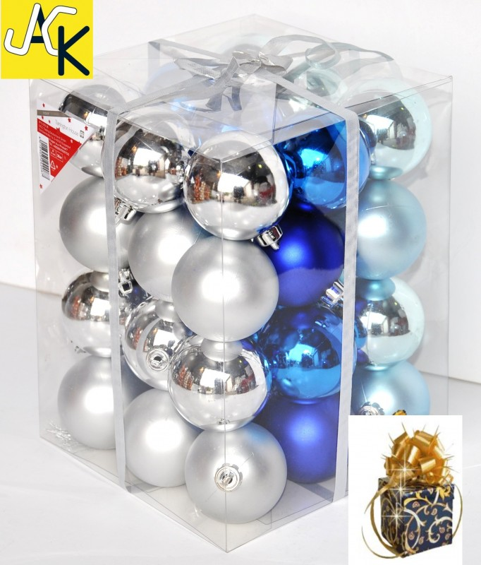 36x christbaumkugeln blau silber t rkis 6cm glanz weihnachtskugeln kunststoff ebay. Black Bedroom Furniture Sets. Home Design Ideas