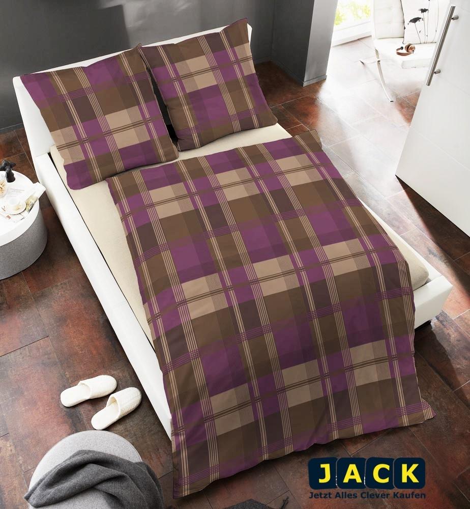 edel flanell bettw sche 200x200cm lila braun 3 tlg rei verschluss baumwolle. Black Bedroom Furniture Sets. Home Design Ideas