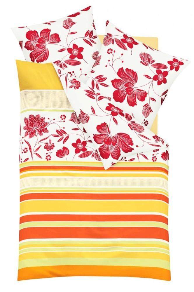 kaeppel biber bettw sche happy mandarine blumen rot 155x220cm 2 tlg rv ko tex ebay. Black Bedroom Furniture Sets. Home Design Ideas