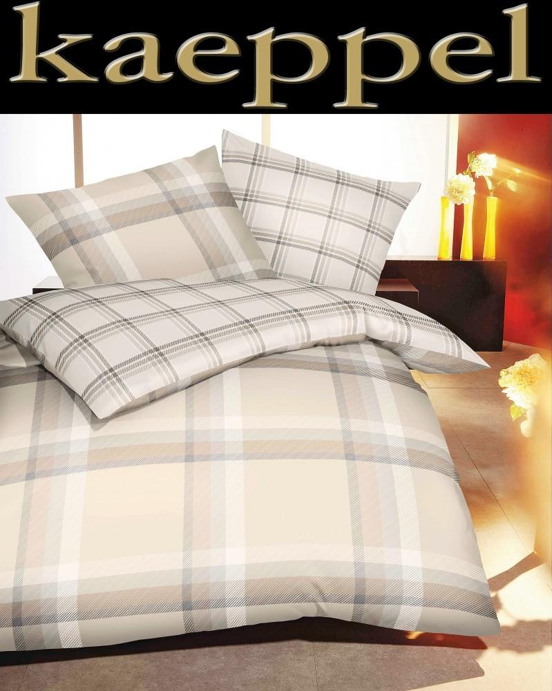 kaeppel linon bettw sche new school beige grau karo 155x220cm 2 tlg rv ko tex ebay. Black Bedroom Furniture Sets. Home Design Ideas