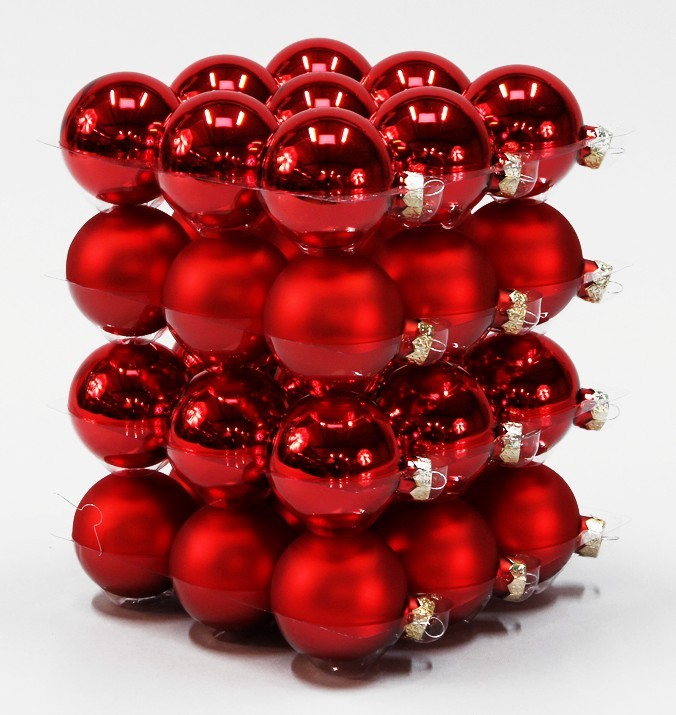 36x glas christbaumkugeln 6cm rot glanz matt weihnachtskugeln box dose kugel ebay. Black Bedroom Furniture Sets. Home Design Ideas