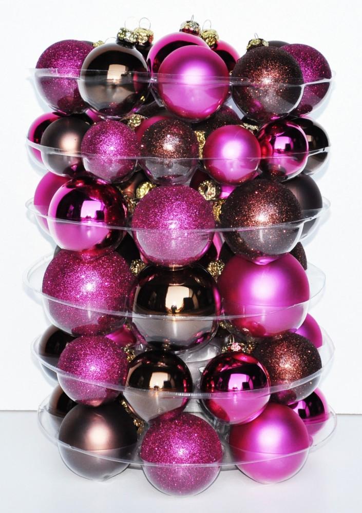 60x glas christbaumkugeln braun pink matt glanz 4 5 6 7 cm weihnachtskugeln set ebay. Black Bedroom Furniture Sets. Home Design Ideas