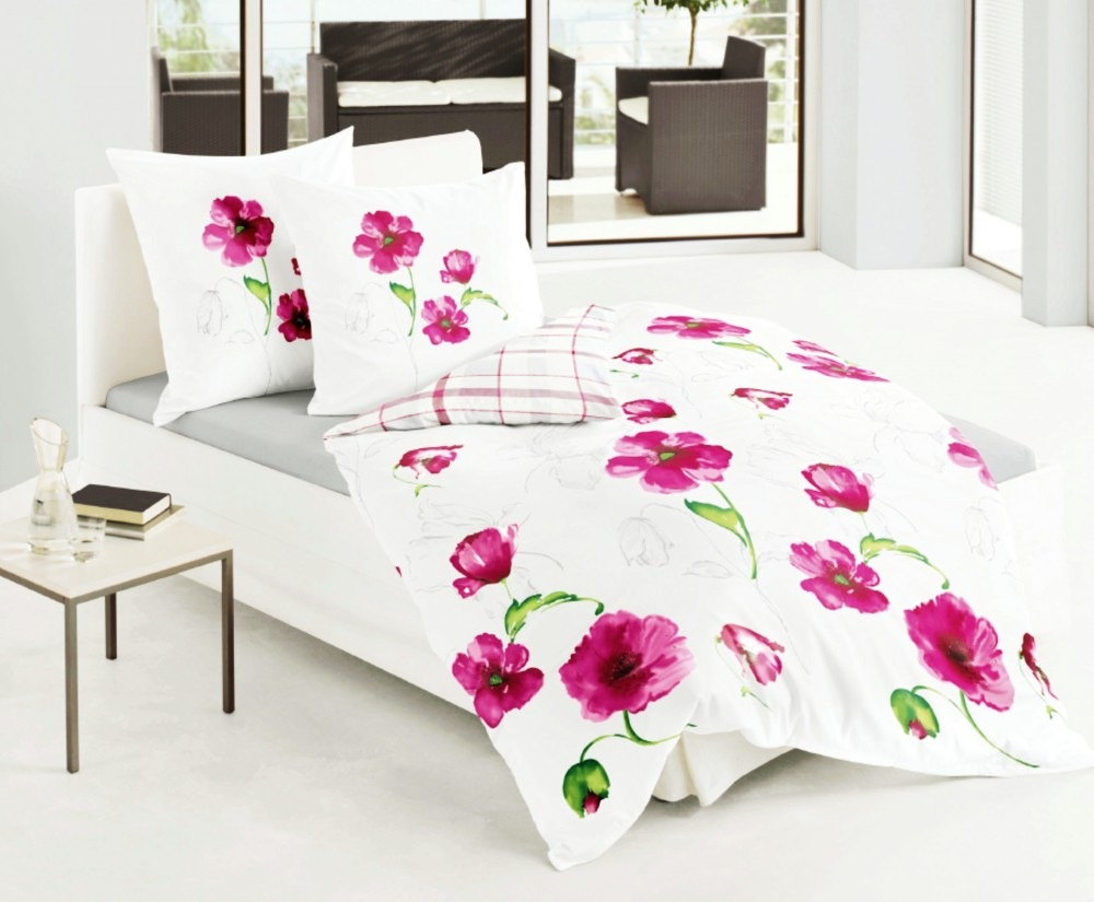 bierbaum mako satin bettw sche 135x200cm 2 tlg blumen pink wei rei v ko tex ebay. Black Bedroom Furniture Sets. Home Design Ideas