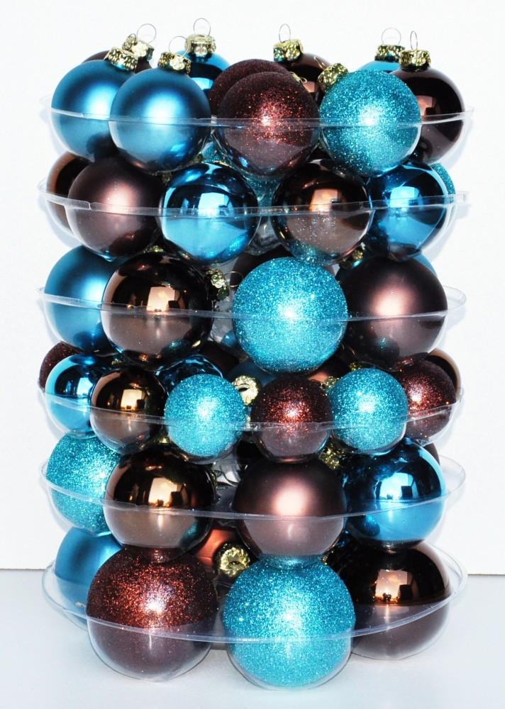 jack 59x glas christbaumkugeln braun t rkis matt glanz 4 5. Black Bedroom Furniture Sets. Home Design Ideas
