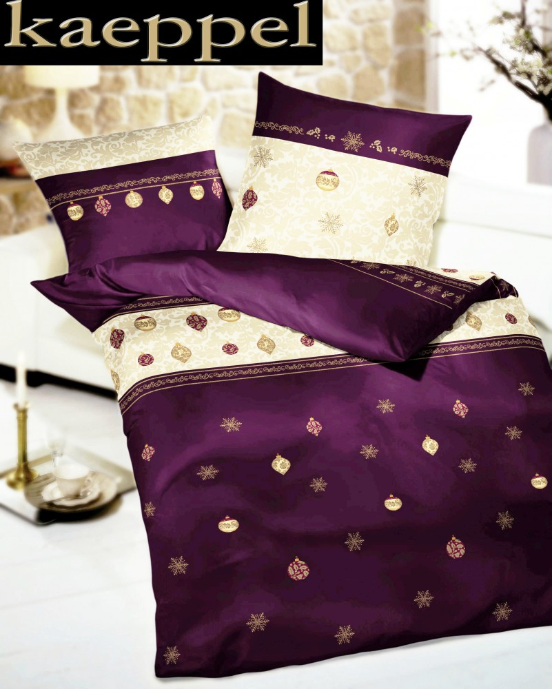 kaeppel castor linge de lit 155x220cm noel violet or aubergine 2 pces co tex arrache ebay. Black Bedroom Furniture Sets. Home Design Ideas