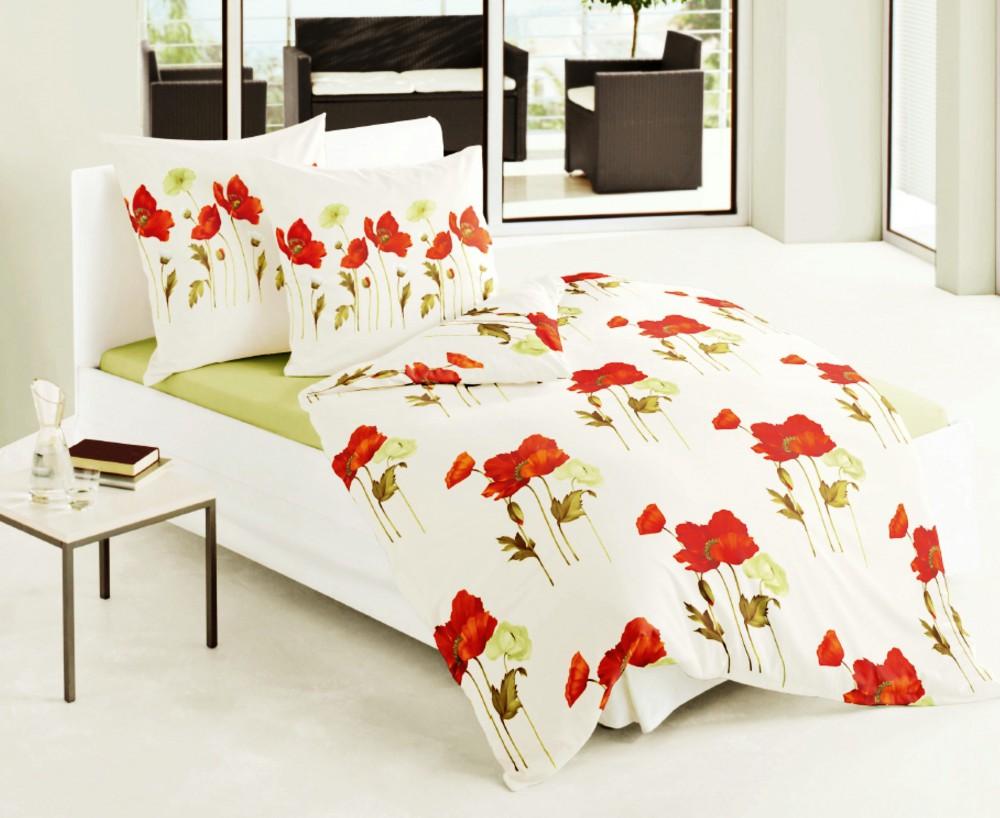 bierbaum fein biber bettw sche 135x200cm 2 tlg mohnblumen rot mohn blumen rv ko. Black Bedroom Furniture Sets. Home Design Ideas