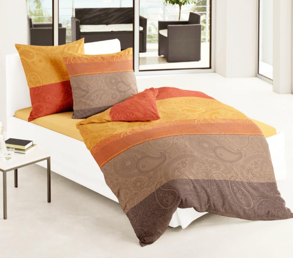 bierbaum mako satin bettw sche 135x200cm 2 tlg kupfer sand rost terra paisley ebay. Black Bedroom Furniture Sets. Home Design Ideas