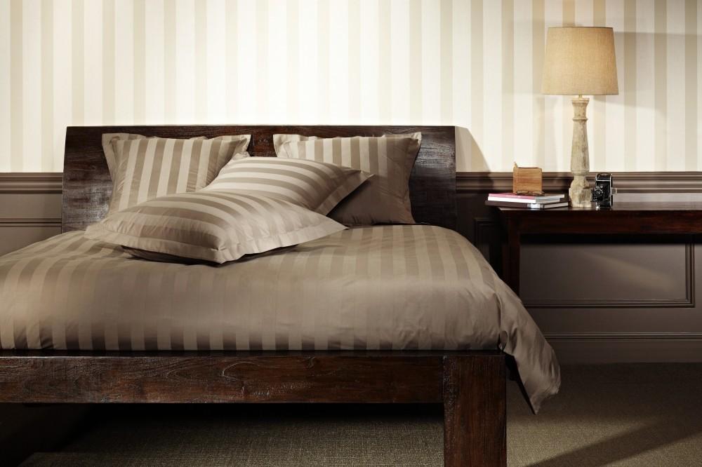 mistral mako satin bettw sche 300fd stripe 135x200cm walnut nuss 100 baumwolle ebay. Black Bedroom Furniture Sets. Home Design Ideas