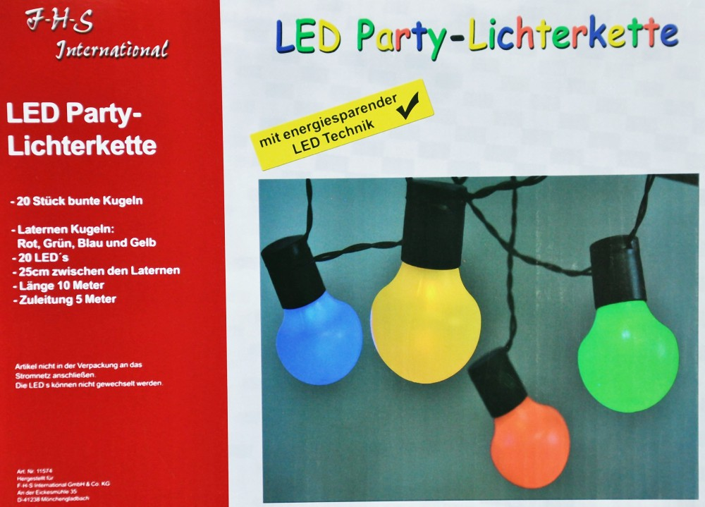 led partylichterkette 5m bunte leds 20er lichterkette. Black Bedroom Furniture Sets. Home Design Ideas