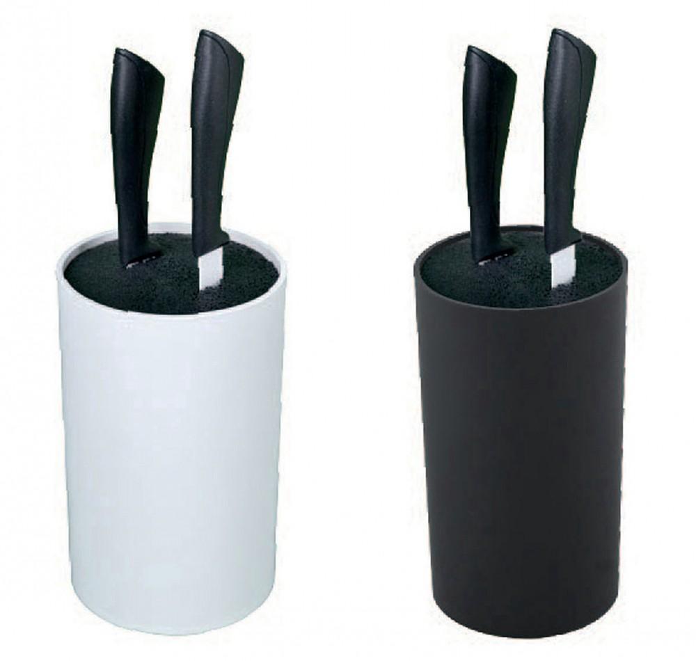 messerblock mit b rsteneinsatz rund wei oder schwarz messerhalter unbest ckt ebay. Black Bedroom Furniture Sets. Home Design Ideas