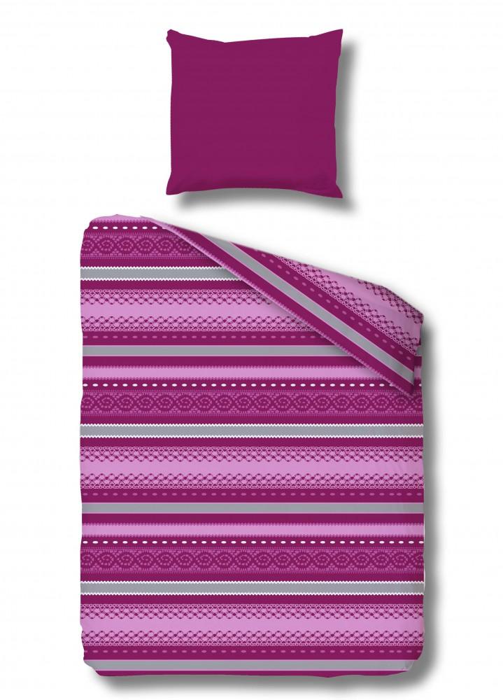 p tter microfaser fleece bettw sche alpenchic conny p streifen lila ko tex ebay. Black Bedroom Furniture Sets. Home Design Ideas