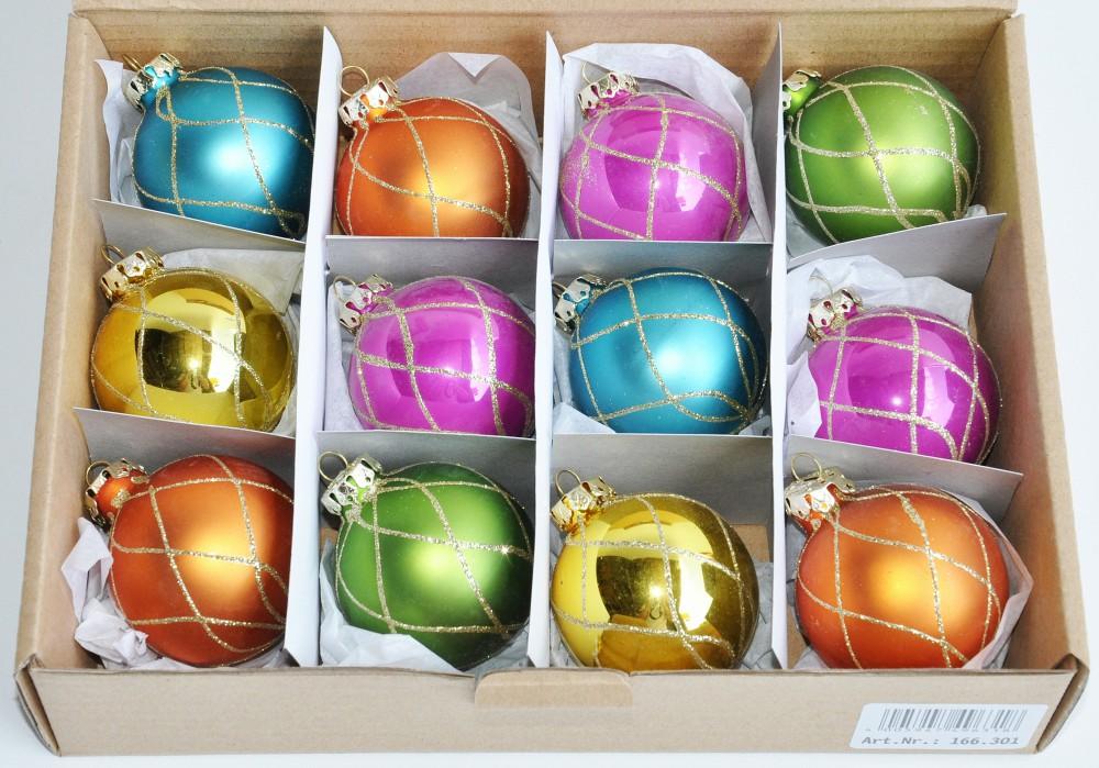 12 r dentaler glas christbaumkugeln 6cm bunt glitzer matt glanz weihnachtskugeln. Black Bedroom Furniture Sets. Home Design Ideas