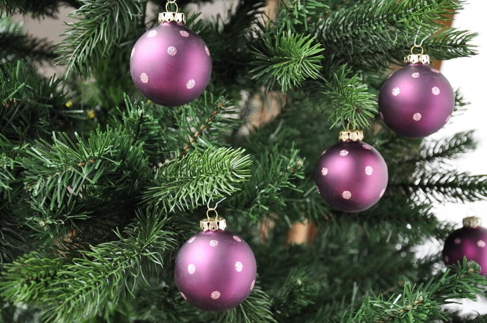 B ware 24x r dentaler glas christbaumkugeln 6cm lila glitzer 2 wahl ebay - Christbaumkugeln lila ...