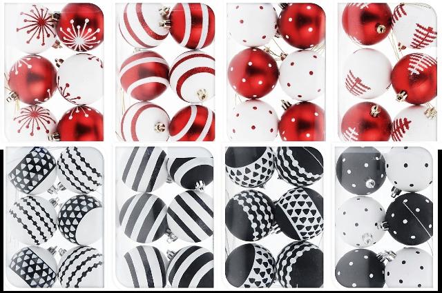 24x kunststoff christbaumkugeln 6 cm schwarz wei rot wei weihnachtskugeln ebay - Weihnachtsbaumkugeln schwarz ...