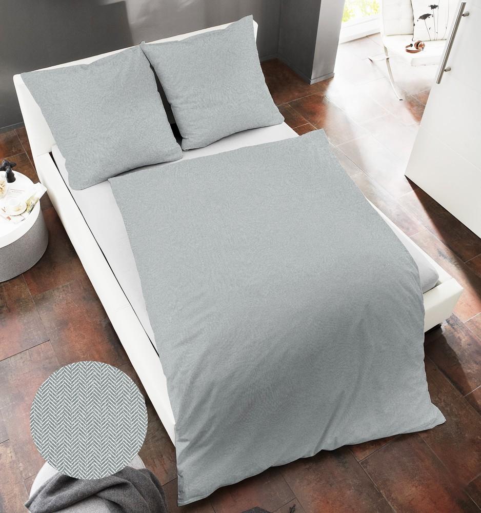 dormisette fischgrat webflanell bettw sche 135x200cm grau blau made in germany. Black Bedroom Furniture Sets. Home Design Ideas