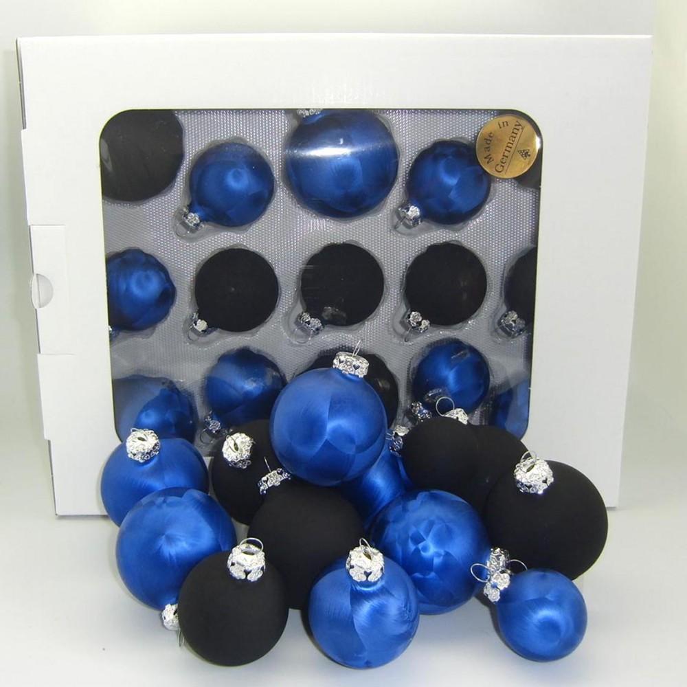Jack 59x glas christbaumkugeln 4 5 6 7 cm dunkel blau for Weihnachtsbaumkugeln schwarz