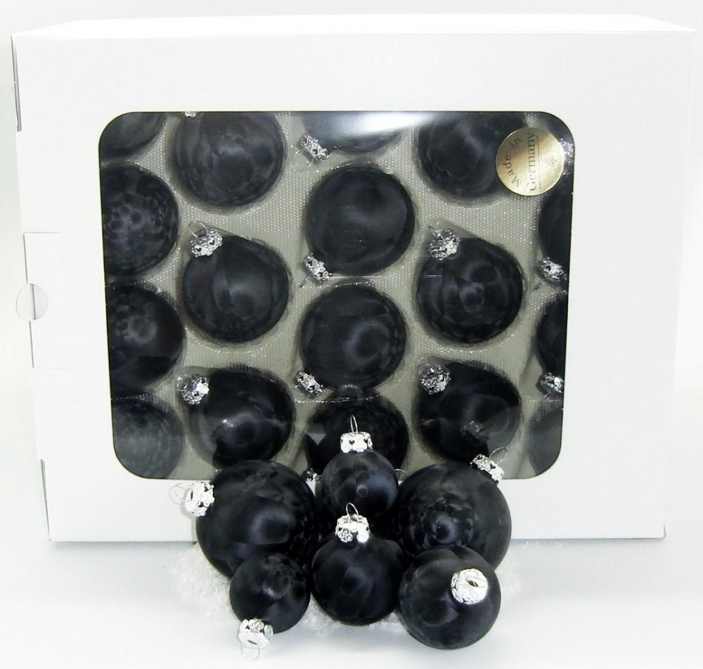Jack 59x glas christbaumkugeln 4 5 6 7 cm eislack schwarz for Weihnachtsbaumkugeln schwarz
