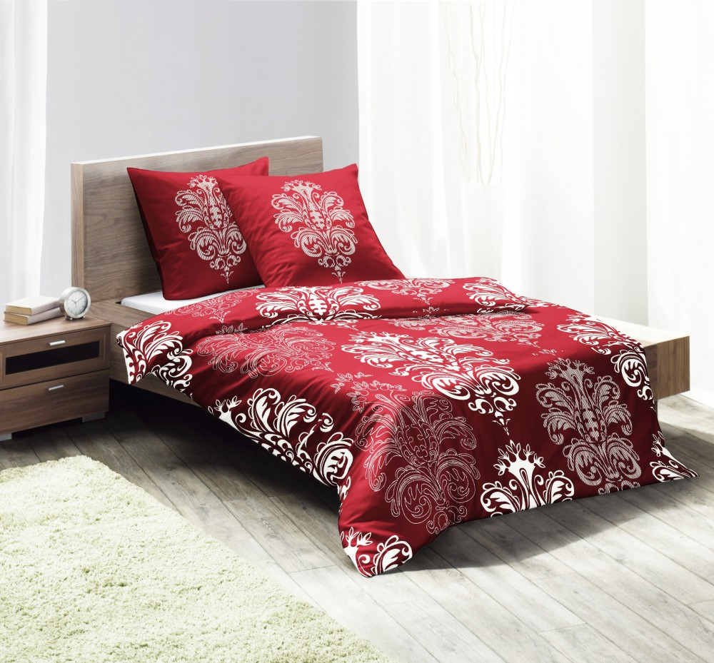 fleuresse microfaser fleece bettw sche ornamente rot wei wei rot bettw sche bettw sche 135x200cm. Black Bedroom Furniture Sets. Home Design Ideas