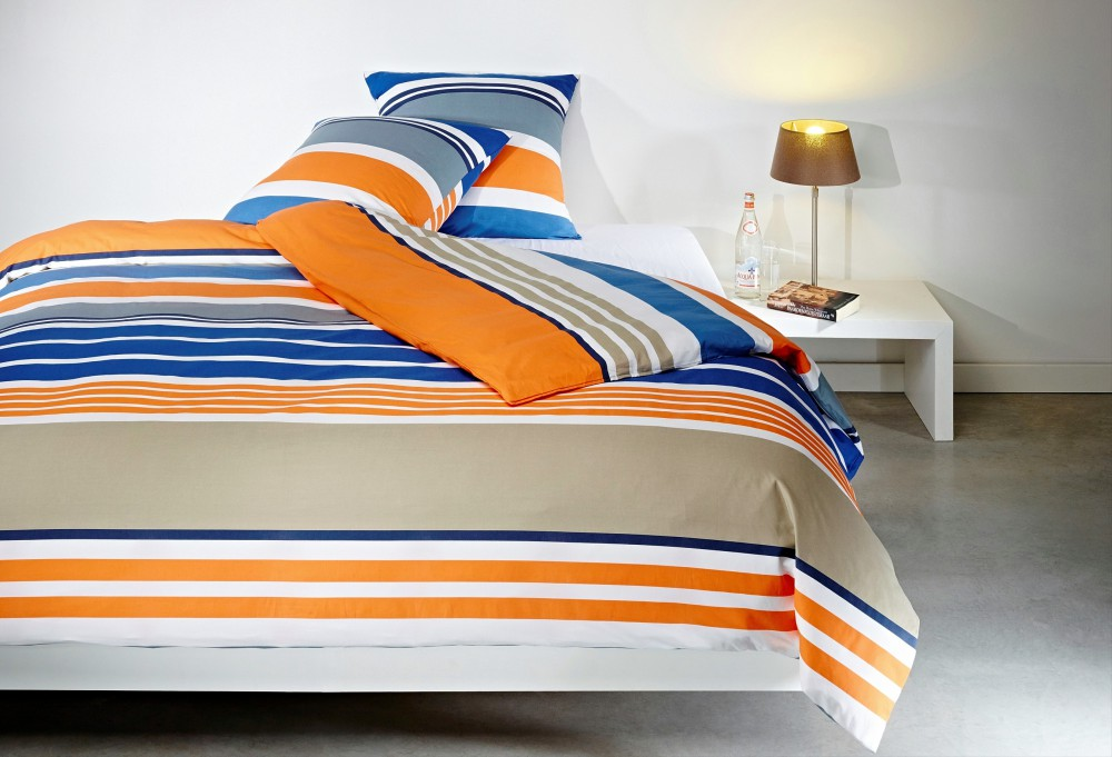mistral home perkal bettw sche streifen orange blau. Black Bedroom Furniture Sets. Home Design Ideas