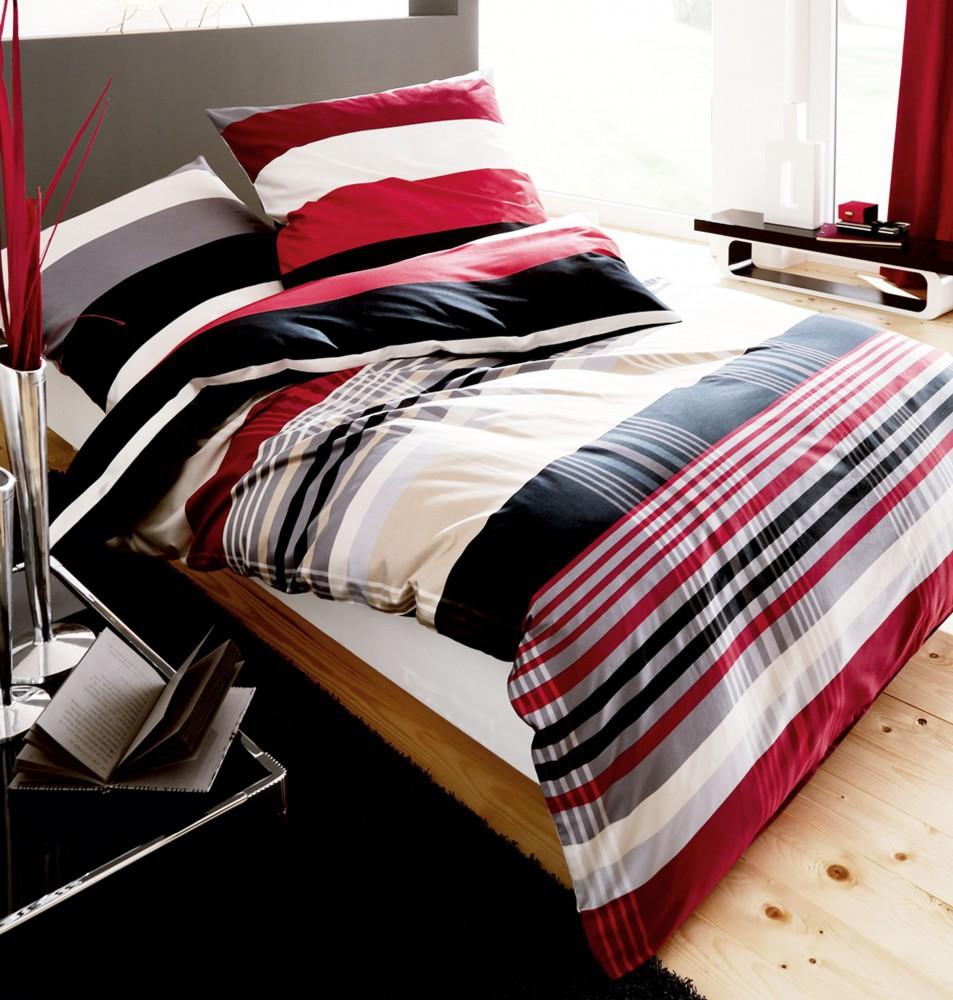 kaeppel biber bettw sche prime time rot schwarz streifen wei ko tex rei vers ebay. Black Bedroom Furniture Sets. Home Design Ideas