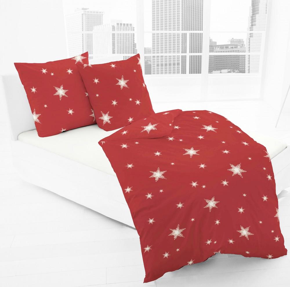 jack by dormisette fein biber bettw sche stern sterne rot wei bettw sche bettw sche 135x200cm. Black Bedroom Furniture Sets. Home Design Ideas