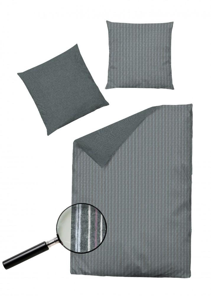 dormisette 2 tlg melange flanell bettw sche 135x200cm streifen titan grau lila bettw sche. Black Bedroom Furniture Sets. Home Design Ideas