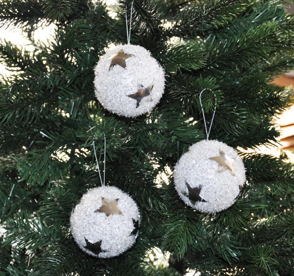 6x glitzer christbaumkugeln 8cm mit sternen kristalloptik wei silber kunststoff weihnachten. Black Bedroom Furniture Sets. Home Design Ideas