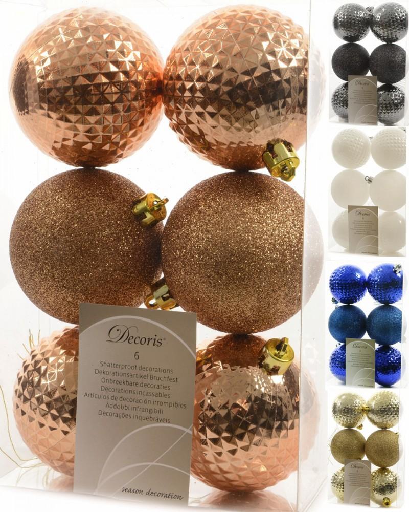 12x christbaumkugeln 7cm kunststoff wei gold blau grau kupfer glitzer rauten weihnachten - Christbaumkugeln grau ...