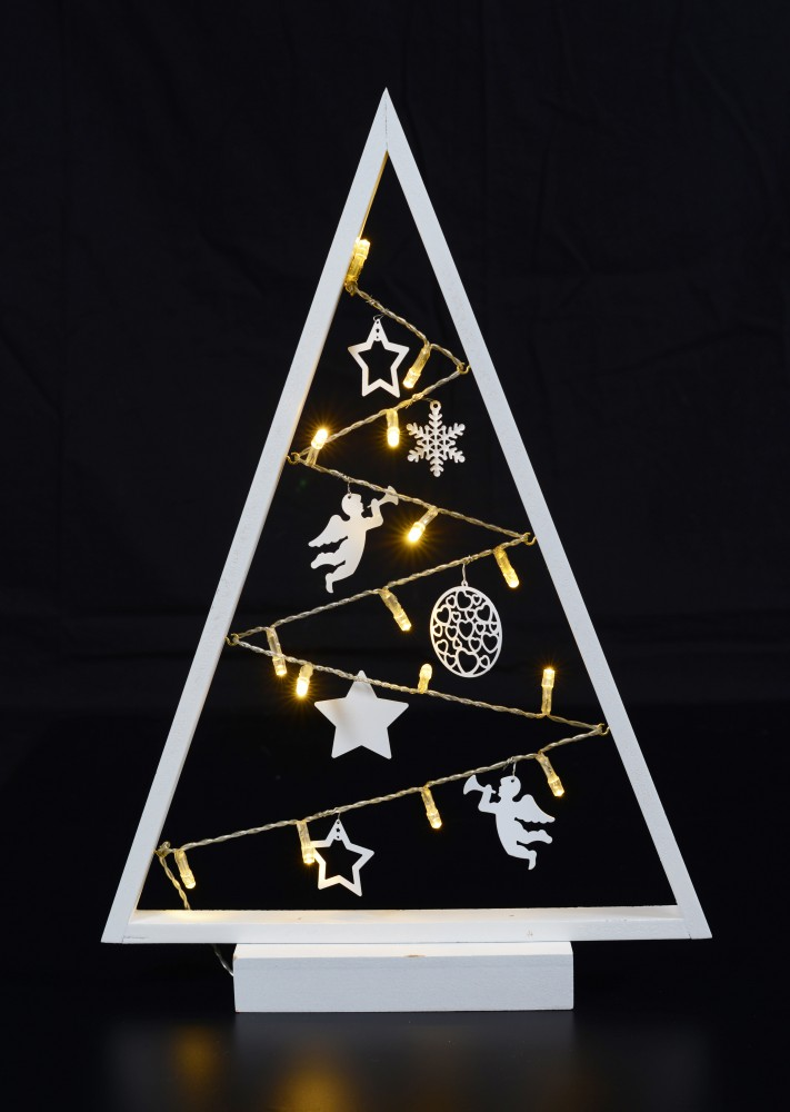 15 led lichter baum pyramide wei 27x40cm batterie. Black Bedroom Furniture Sets. Home Design Ideas