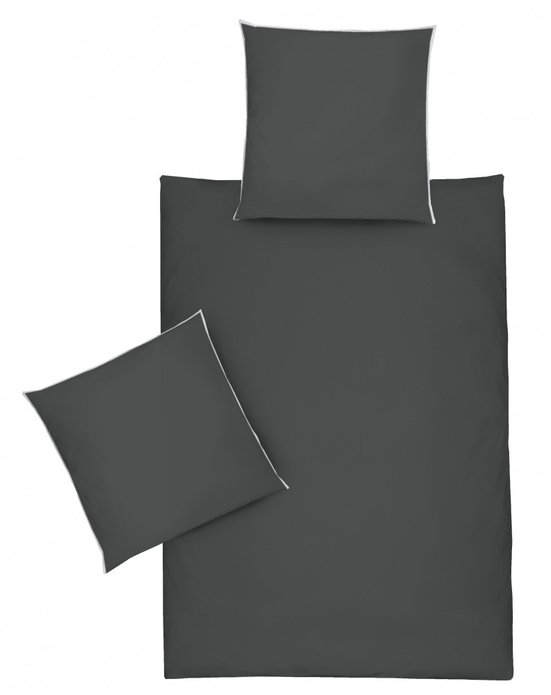 jack by dormisette satin bettw sche 135x200cm uni titan grau mit wei er paspel bettw sche. Black Bedroom Furniture Sets. Home Design Ideas