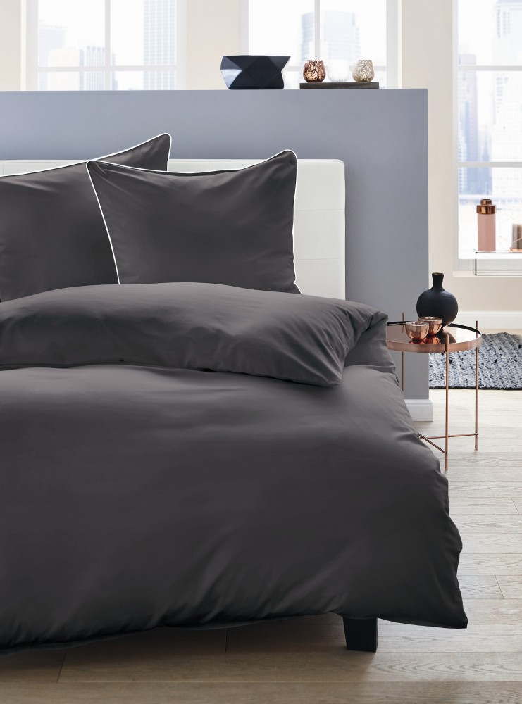 jack by dormisette satin bettw sche 135x200cm uni titan grau mit wei er paspel ebay. Black Bedroom Furniture Sets. Home Design Ideas