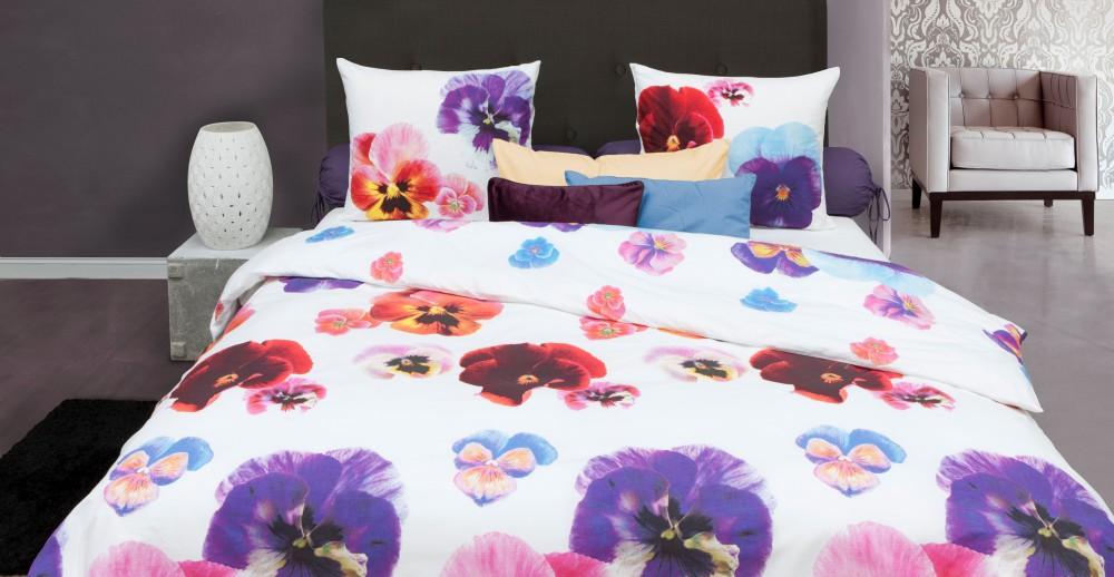 hnl renforce bettw sche 135x200cm violet garden violett pink wei 100 baumwolle bettw sche. Black Bedroom Furniture Sets. Home Design Ideas