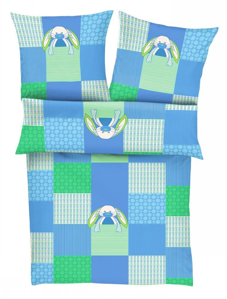 s oliver kinder flanell biber bettw sche 135x200cm hase oliver blau gr n bettw sche bettw sche. Black Bedroom Furniture Sets. Home Design Ideas