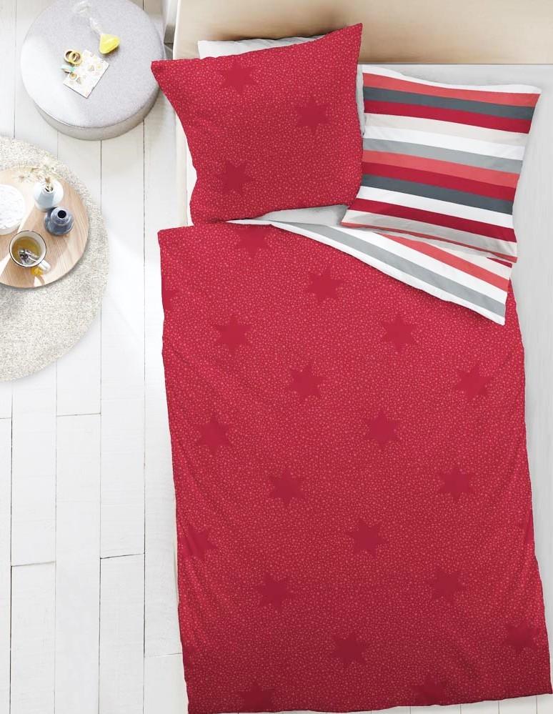 dormisette fein biber wende bettw sche sterne streifen rot wei grau wei ebay. Black Bedroom Furniture Sets. Home Design Ideas