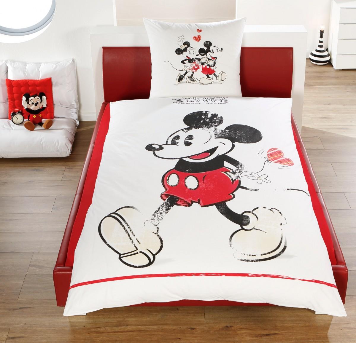disney linon renforc wende bettw sche mickey minnie mouse 135x200cm 2 tlg bettw sche. Black Bedroom Furniture Sets. Home Design Ideas