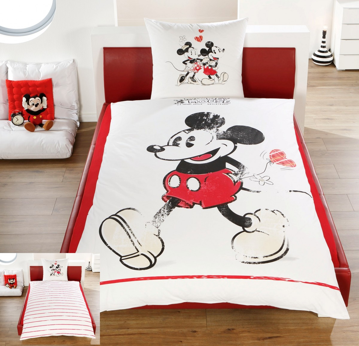 disney linon renforc wende bettw sche mickey minnie mouse 135x200cm 2 tlg bettw sche. Black Bedroom Furniture Sets. Home Design Ideas