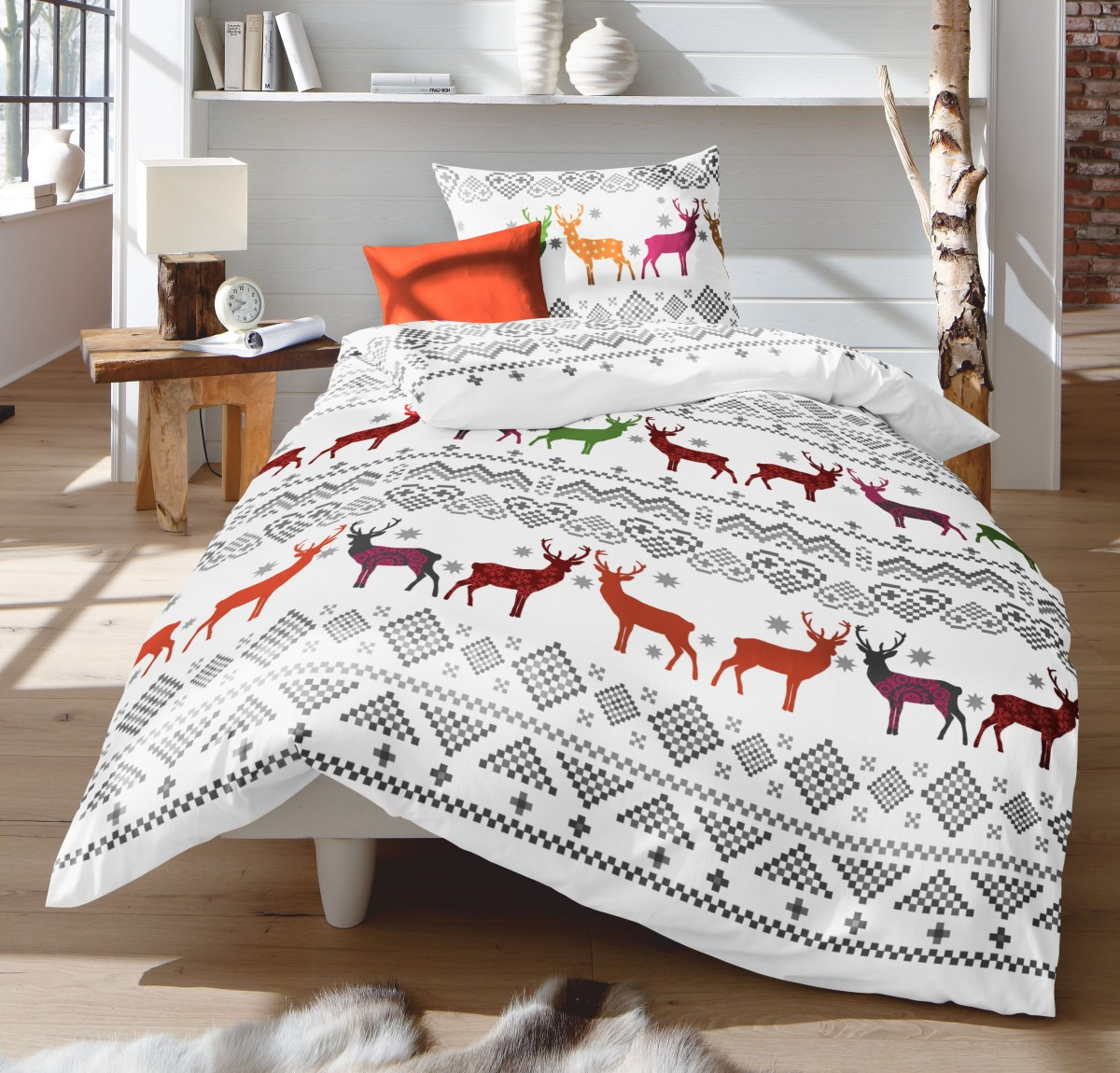 fleuresse fein biber bettw sche 2 tlg winter hirsche rot gr n wei silber grau. Black Bedroom Furniture Sets. Home Design Ideas