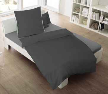 dormisette 2 tlg melange flanell bettw sche 135x200cm streifen titan grau lila bettw sche. Black Bedroom Furniture Sets. Home Design Ideas