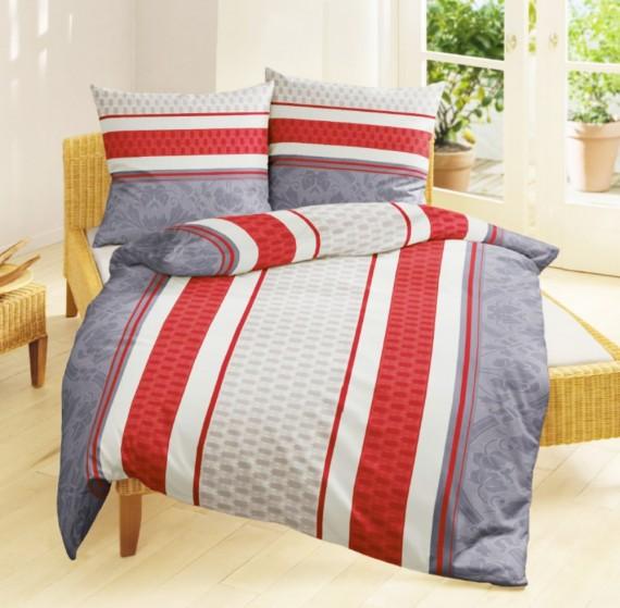 bierbaum edel flanell bettw sche 135x200cm 2 tlg streifen rot grau flieder bettw sche. Black Bedroom Furniture Sets. Home Design Ideas