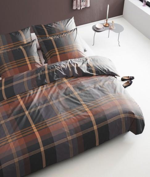damai perkal baumwolle bettw sche 135x200cm 2tlg sessa karos anthrazit braun bettw sche. Black Bedroom Furniture Sets. Home Design Ideas