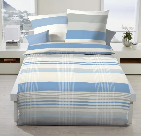 kaeppel renforc linon bettw sche prime time streifen hellblau bettw sche bettw sche 135x200cm. Black Bedroom Furniture Sets. Home Design Ideas