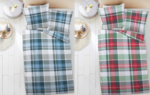 dormisette fein biber bettw sche karos grau petrol wei. Black Bedroom Furniture Sets. Home Design Ideas