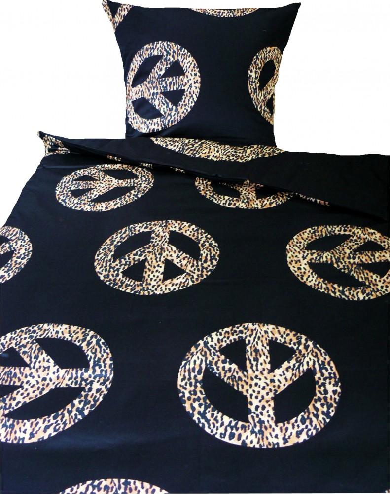 maco satin wende bettw sche 135x200cm peace zeichen. Black Bedroom Furniture Sets. Home Design Ideas