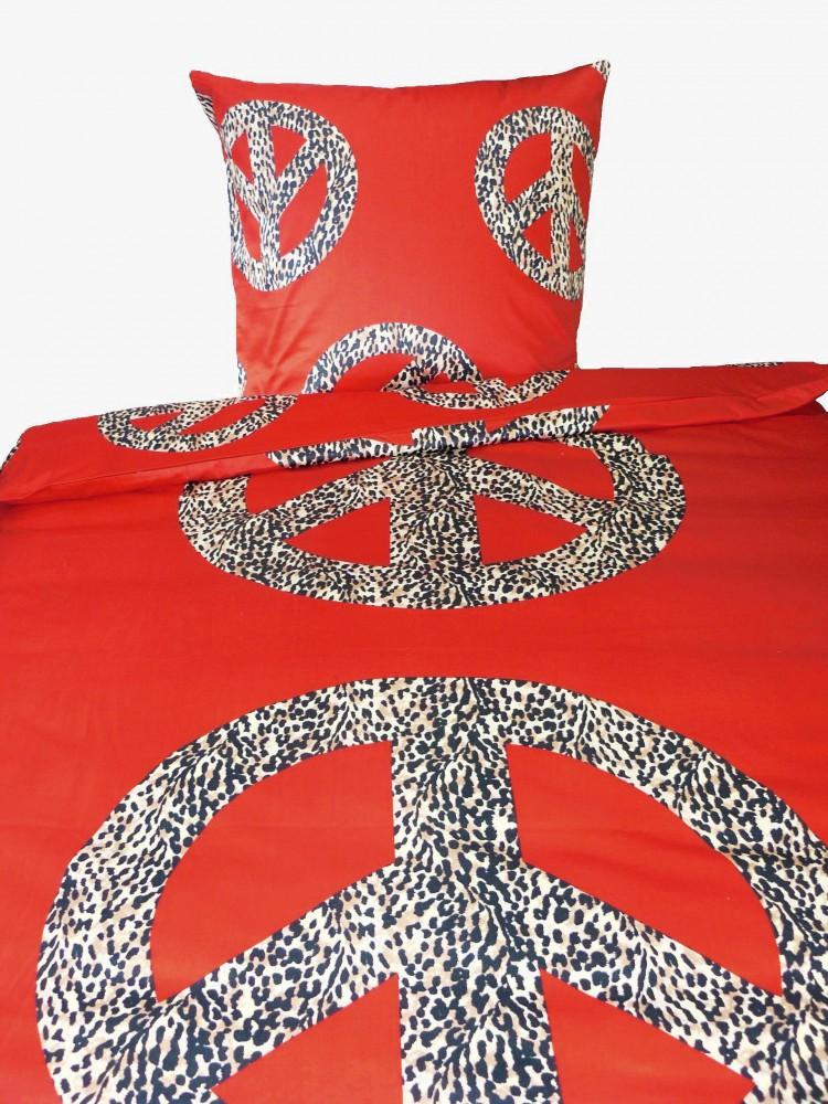 mako satin wende bettw sche peace zeichen leopard frieden. Black Bedroom Furniture Sets. Home Design Ideas