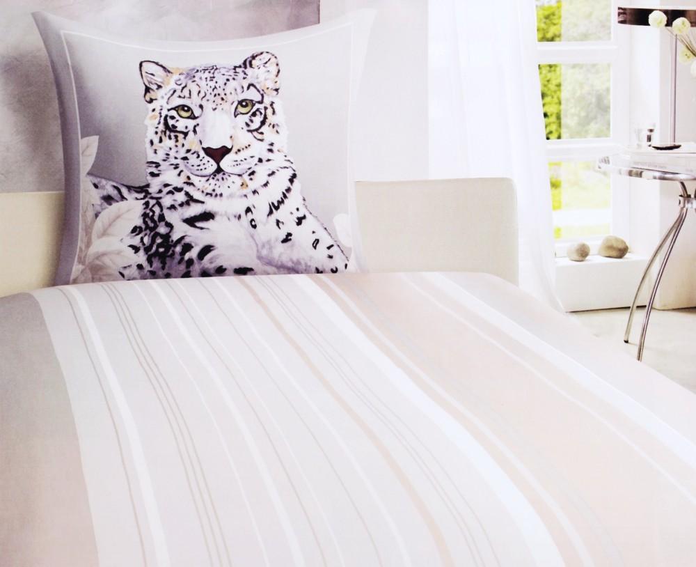 satin bettw sche 135x200cm schnee leopard schwarz terra. Black Bedroom Furniture Sets. Home Design Ideas