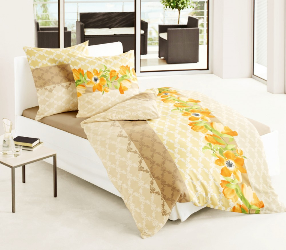 bierbaum biber bettw sche 135x200cm 2 tlg blumen bl ten orange gr n bettw sche bettw sche 135x200cm. Black Bedroom Furniture Sets. Home Design Ideas